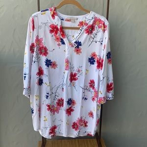 Woman Within Plus White Floral Tunic Blouse 18/20